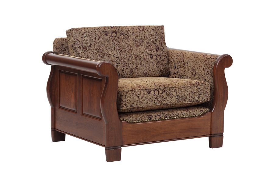 Phenomenal Sleigh Chair With Cushion Back Amish Furniture Coblentz Spiritservingveterans Wood Chair Design Ideas Spiritservingveteransorg